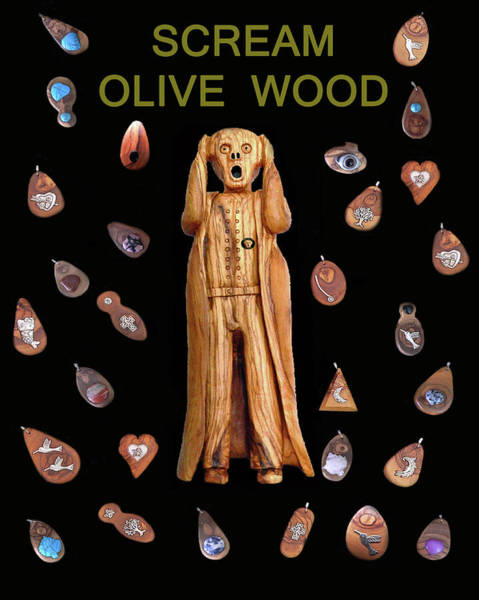 Mixed Media - Scream Olive Wood by Eric Kempson