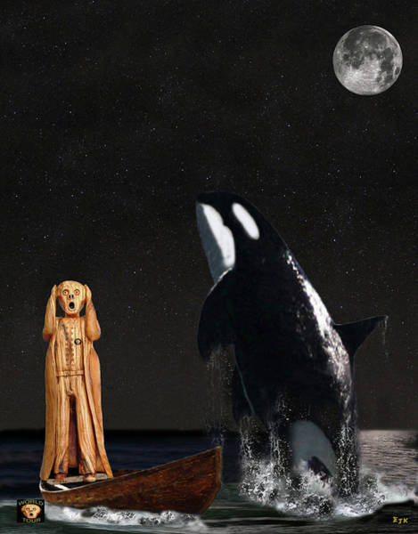 Carousel Mixed Media - Scream With Orca by Eric Kempson