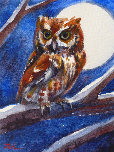 Painting - Screech Owl And Full Moon by Janet Zeh
