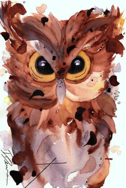 Painting - Screech Owl by Dawn Derman