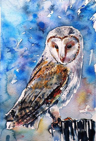 Owl Painting - Screech-owl II by Kovacs Anna Brigitta