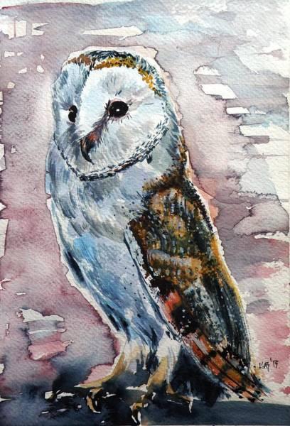 Owl Painting - Screech-owl IIi by Kovacs Anna Brigitta