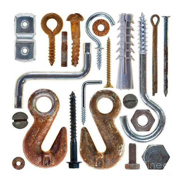 Old Wall Art - Photograph - Screws, Nut Bolts, Nails And Hooks by Michal Boubin