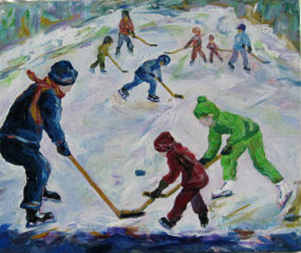 Wall Art - Painting - Scrimmage On The Farm Pond by Naomi Gerrard