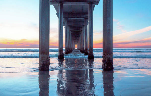 Under The Pier Photograph - Scripps At Sunset by Rosanne Nitti