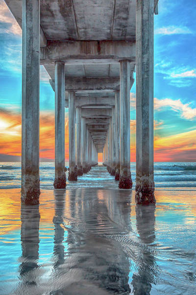 Under The Pier Photograph - Scripps At Sunset Vertical by Rosanne Nitti
