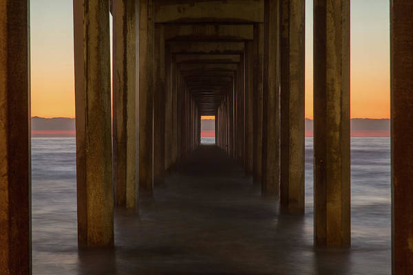 Photograph - Scripps Pier At Sunset by M C Hood
