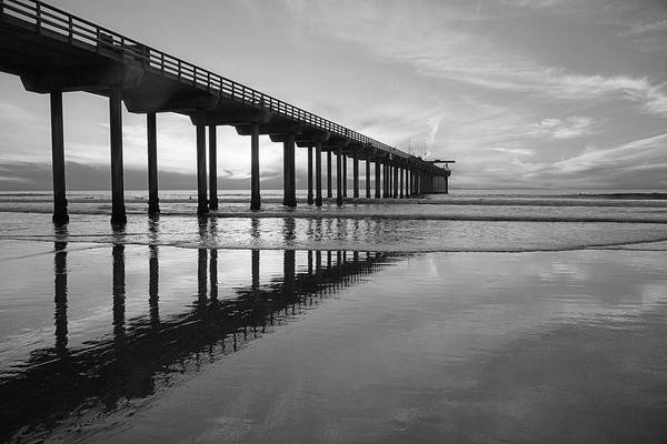 Photograph - Scripps Pier Black And White by Cliff Wassmann