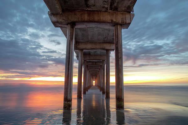 Scripps Pier Photograph - Scripps Pier Golden Shore Reflection by Michael Sangiolo