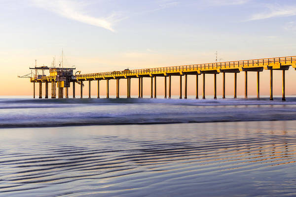 Photograph - Scripps Pier La Jolla - Golden Glow In Winter by Priya Ghose