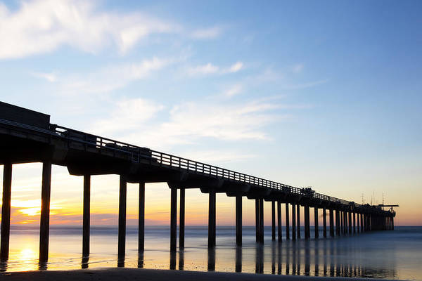 Scripps Pier Photograph - Scripps Pier Orange And Blue by Michael Sangiolo