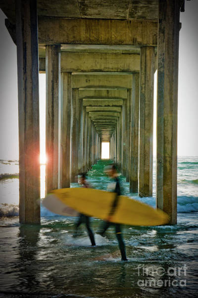 Photograph - Scripps Pier Surfers by Ken Johnson