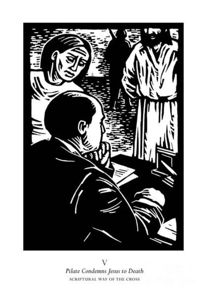 Painting - Scriptural Stations Of The Cross 05 - Pilot Condemns Jesus To Death - Jljec by Julie Lonneman