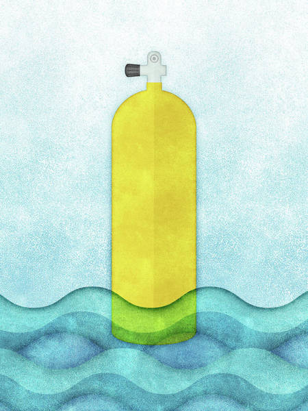 Scuba Diving Wall Art - Digital Art - Scuba Diving - Yellow Tank On Blue by Flo Karp