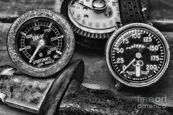 Free Dive Wall Art - Photograph - Scuba Vintage Hp Pressure Gauge And Depth Gauge Black And White by Paul Ward