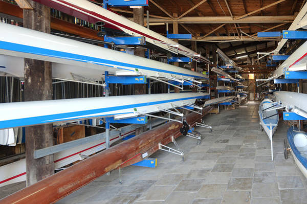 Rowing Photograph - Sculling Shells On Racks by Noam Armonn