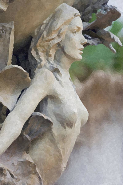 Gargoyle Digital Art - Sculpture Of Angelic Woman by Christopher Purcell