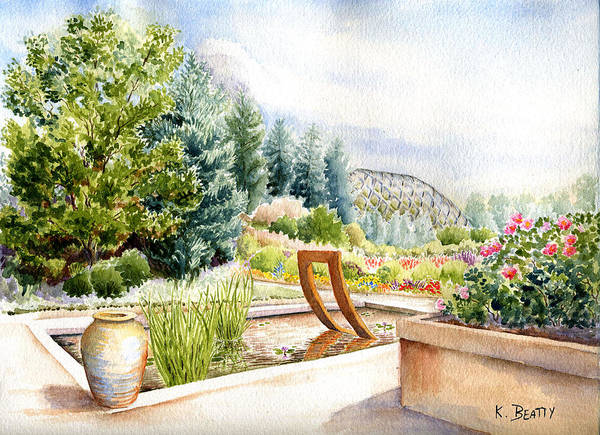 Sculpture Pool At Denver Botanic Gardens Art Print