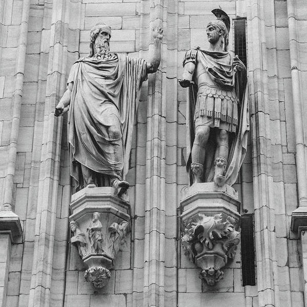 Photograph - Sculptures On Facade Of Milan's Duomo Cathedral by Alexandre Rotenberg