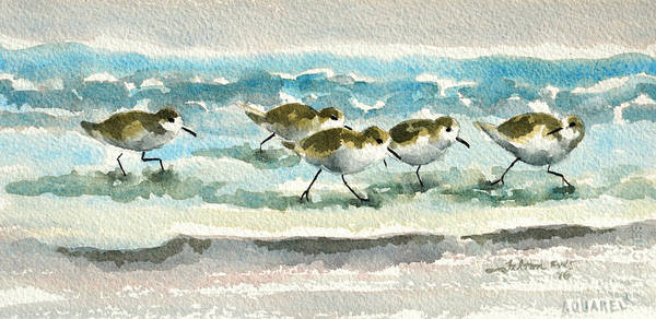 Painting - Scurrying Along The Shoreline 2  1-6-16 by Julianne Felton