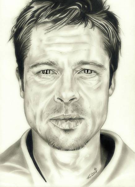 Drawing - Se7en Brad Pitt by Fred Larucci