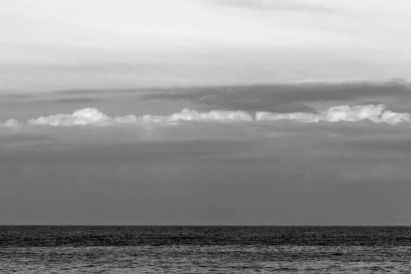 Photograph - Sea And Clouds Bw Minimalist Seaside Nj by Terry DeLuco