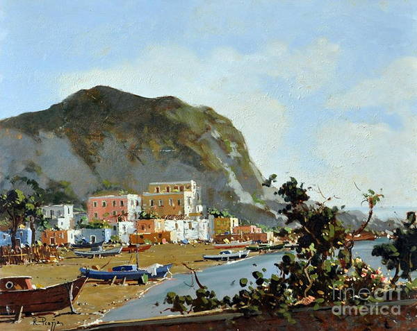 Sea And Mountain With Boats Art Print