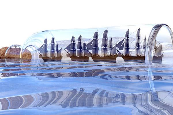 Sailors Digital Art - Bottled And Ready To Ship by Betsy Knapp