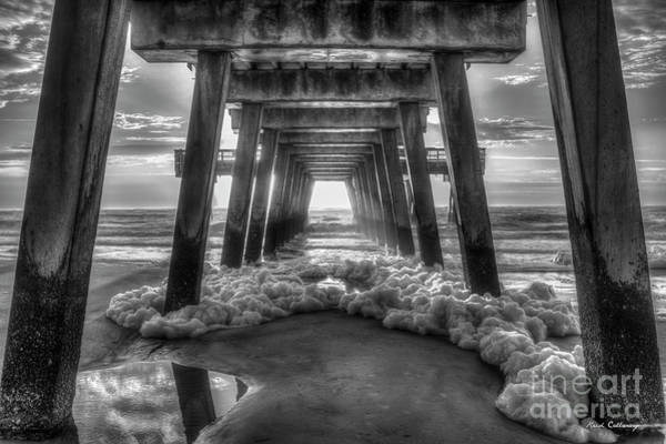 Oceanfront Photograph - Sea Foam B W Tybee Island Pier Savannah Georgia Art by Reid Callaway