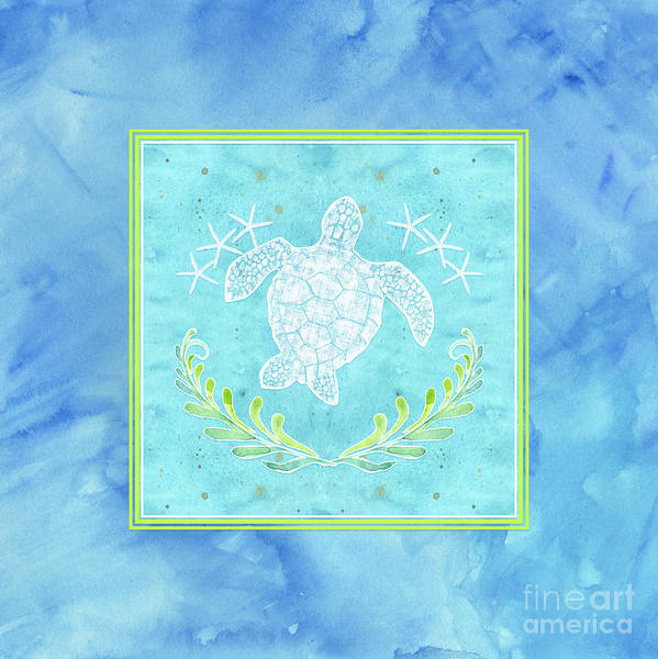 Wall Art - Painting - Flamingo Beach 1 - Turtle With Starfish  by Audrey Jeanne Roberts