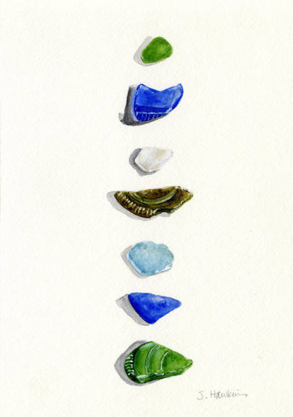 Wall Art - Painting - Sea Glass Watercolor by Sheryl Heatherly Hawkins