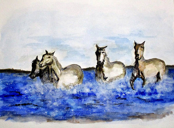 Painting - Sea Horses by Clyde J Kell