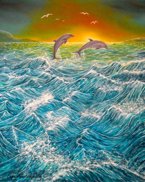 Wall Art - Painting - Sea In Action by Faye Anastasopoulou