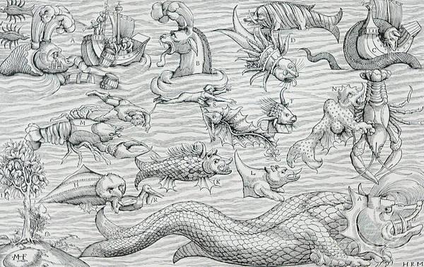 Wall Art - Drawing - Sea Of Darkness by German School
