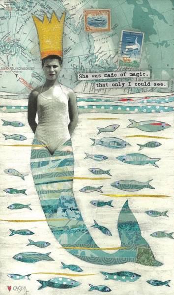 Mermaid Painting - Sea Queen by Casey Rasmussen White