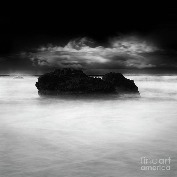 Moving Water Photograph - Sea Rocks And Clouds by Masako Metz