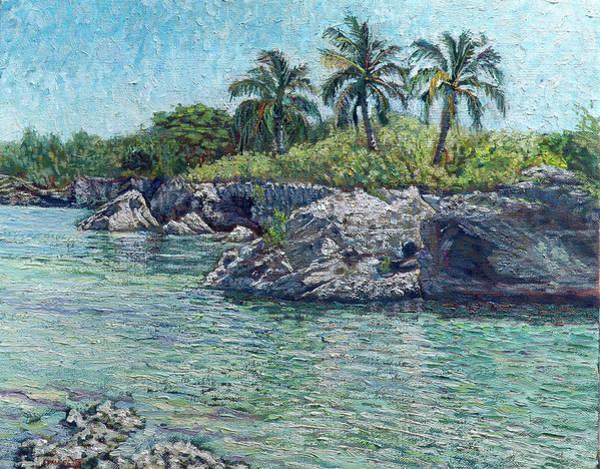 Sea, Rocks And Coconuts Art Print