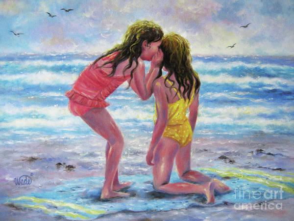 Wall Art - Painting - Sea Secrets Beach Girls Whispering by Vickie Wade
