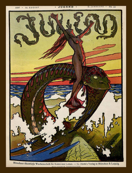 Painting - Sea Serpent And The Nude Jugend Magazine Cover by Jugend Magazine