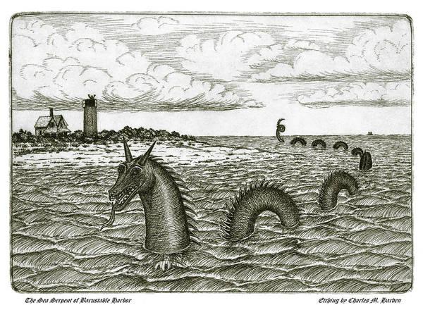 Wall Art - Mixed Media - Sea Serpent Of Barnstable Harbor by Charles Harden