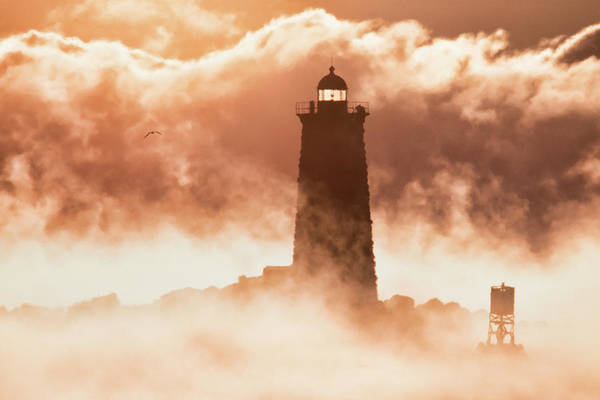 Wall Art - Photograph - Sea Smoke At Whaleback Lighthouse by Eric Gendron