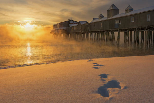 Orchard Beach Photograph - Sea Smoke - Old Orchard Beach by Jeff Bazinet