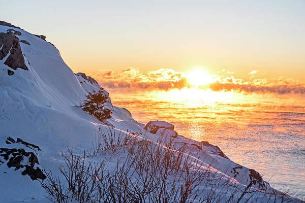 Photograph - Sea Smoke On Castle Island Marblehead Ma Sunrise by Toby McGuire