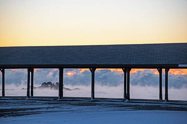 Photograph - Sea Smoke On Devereaux Beach Marblehead Ma Sunrise Walkway by Toby McGuire
