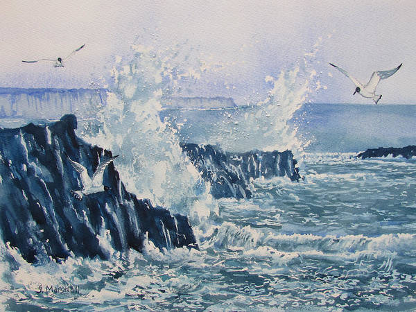 Painting - Sea, Splashes And Gulls by Glenn Marshall