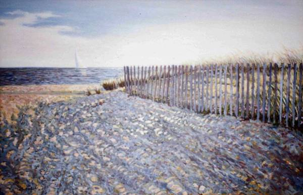 Wall Art - Painting - Sea St Beach Snow Fence by Lee G Smith
