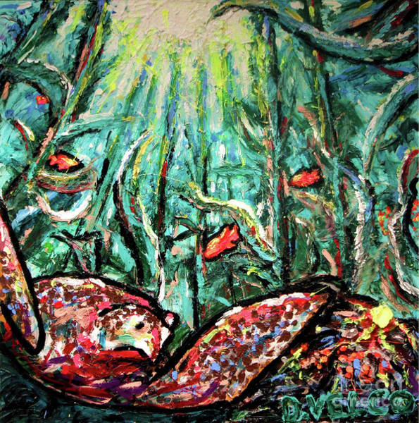 Recycling Painting - Sea Turtle And Garibaldi by Dennis Velco