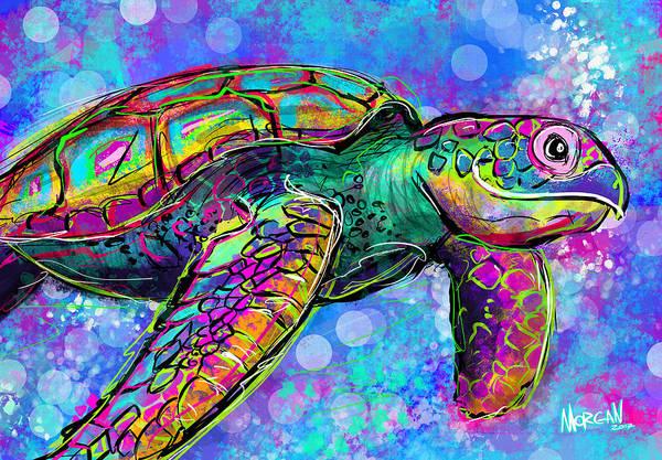 Neon Digital Art - Sea Turtle by Morgan Richardson