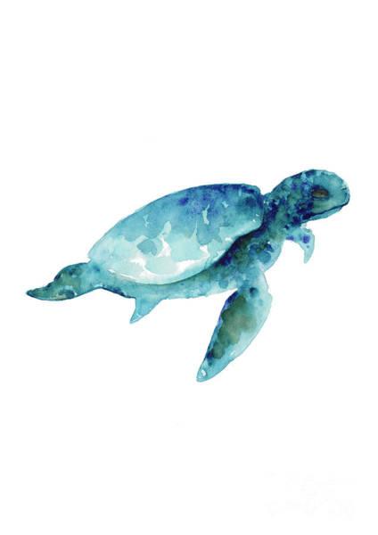 Archival Painting - Sea Turtle Wall Art Print, Abstract Sea Animals Nursery Wall Art by Joanna Szmerdt