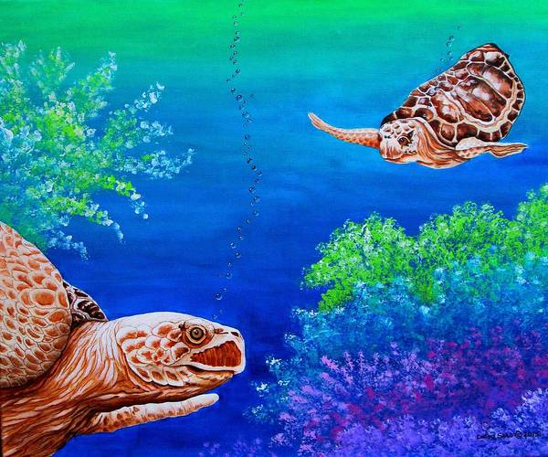 Wall Art - Painting - Sea Turtles by Carol Sabo
